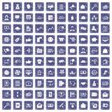 100 virale marketing pictogrammen geplaatst grunge saffier Royalty-vrije Stock Afbeeldingen