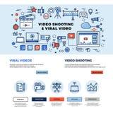 Virale video film-maakt marketing, film, het professionele TV-ontwerp van de productie vectorwebsite royalty-vrije illustratie