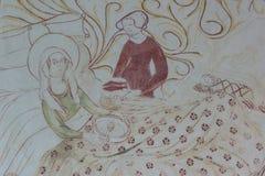 Virgem Maria na cama após o nascimento, comendo o papa de aveia fotos de stock