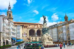 Virgen布朗卡正方形, Vitoria-Gasteiz 免版税图库摄影