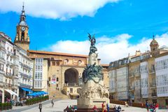 Virgen布朗卡正方形, Vitoria-Gasteiz 免版税库存照片