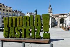 Virgen Blanca, Vitoria Gasteiz, baskiskt land, Spanien arkivfoto