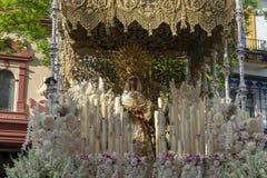 Virgen DE La Esperanza DE Triana, Heilige Week in Sevilla royalty-vrije stock foto's