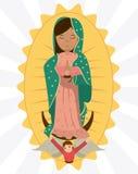 Virgen de la imagen de la dedicación del ángel de Guadalupe stock de ilustración