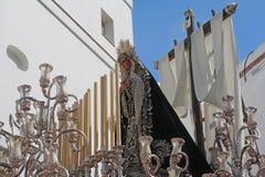 Virgen de la Soledad, Easter in Cadiz. Stock Photo