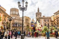 Virgen de Los Desemparados στο φεστιβάλ Fallas στο τετράγωνο Αγίου στοκ φωτογραφία με δικαίωμα ελεύθερης χρήσης