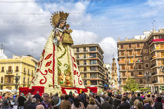 Virgen de los Desemparados in Fallas festival on Square of Saint royalty free stock photography