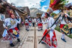 Virgen del卡门游行秘鲁安地斯Pisac每 免版税库存图片