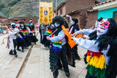 Virgen del卡门游行秘鲁安地斯Pisac 库存图片