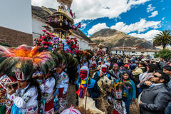 Virgen del Carmen parade de Peruviaanse Andes Pisac Peru stock foto's