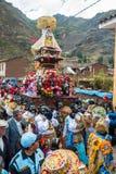 Virgen del Carmen parade peruvian Andes  Pisac Per Stock Photography