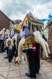 Virgen del Carmen parade peruvian Andes  Pisac Peru Stock Photography