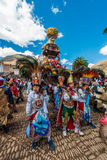 Virgen del Carmen parade peruvian Andes  Pisac Royalty Free Stock Images