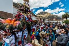 Virgen del Carmen parade peruvian Andes  Pisac Peru. Pisac, Peru - July 16, 2013: Virgen del Carmen parade in the peruvian Andes at Pisac Peru on july 16th, 2013 Stock Photos