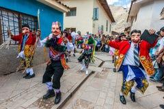 Virgen del Carmen parade peruvian Andes  Pisac Peru Stock Images