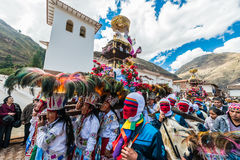 Virgen del Carmen parade peruvian Andes  Pisac Peru Royalty Free Stock Photo