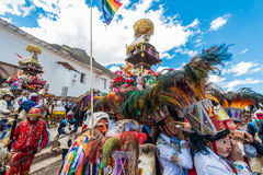 Virgen del Carmen parade peruvian Andes  Pisac Peru Stock Photo