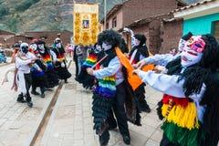 Virgen del Carmen parade peruvian Andes  Pisac Stock Images