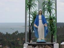 Virgen hermosa dentro de un vitral con un fondo impresionante imagen de archivo libre de regalías