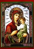 Virgen Maria con el icono de Jesús imagen de archivo