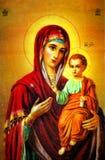 Virgen Maria con el icono de Jesús Imagen de archivo libre de regalías