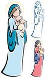 Virgen Maria y bebé Jesús stock de ilustración