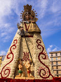 Virgen Mary Flower Sculpture Las Fallas Valencia Spain Fotos de archivo