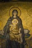 Virgen y el detalle del niño Imagen de archivo