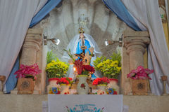 Virgin altar in Mexican cathedral Royalty Free Stock Photo