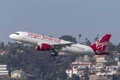 Virgin America Aerobus A320-214 N847VA odjeżdża San Diego lotnisko międzynarodowe Zdjęcie Stock