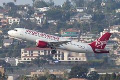 Virgin America Aerobus A320-214 N640VA odjeżdża San Diego lotnisko międzynarodowe Obrazy Stock