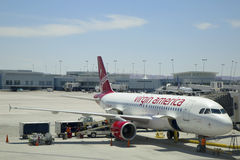 Virgin America Airbus A320 aircraft ready to take off at Las Vegas airport Royalty Free Stock Photo