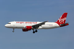 Virgin America Airbus A320 airplane Los Angeles International Ai Stock Photos