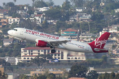 Virgin America Airbus A320-214 N640VA departing San Diego International Airport. Stock Images