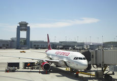 Virgin America aircraft ready to take off at Las Vegas airport Stock Images