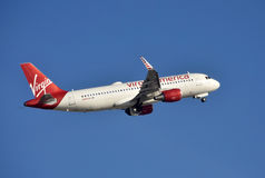 Virgin America jet taking off Royalty Free Stock Photo
