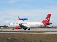 Virgin America passenger jet Royalty Free Stock Photography