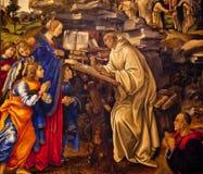 Virgin Appearing St. Bernard Lippi Painting stock image