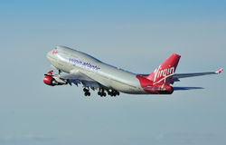 Virgin Atlantic Boeing 747. Jumbo Jet taking off from Manchester Airport royalty free stock photo