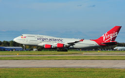 Virgin Atlantic Boeing 747. Jumbo Jet taking off from Manchester Airport royalty free stock photography