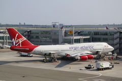 Virgin Atlantic Boeing 747 at the gate at the Terminal 4 in JFK Airport in NY stock photography