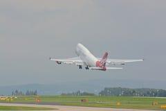 Virgin atlantic 747 - 400. A Virgin atlantic Boeing 747 - 400 taking off at Manchester airport, UK Stock Photo