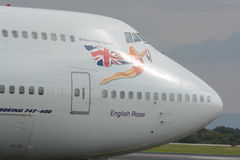 Virgin atlantic 747 - 400. A Virgin atlantic Boeing 747 - 400 taxiing for departure at Manchester airport, UK Stock Photo