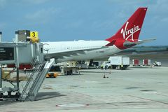 Virgin Atlantic plane on tarmac at the V. C. Bird International Airport in Antigua. OSBOURN, ANTIGUA AND BARBUDA - JUNE 14, 2018: Virgin Atlantic plane on tarmac Stock Photo