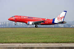 Virgin Blue Airlines Embraer 170 Airliner. Taking off from Sydney, Australia Royalty Free Stock Photo
