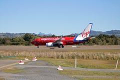 Virgin Blue. Landing at Coolangatta Airport royalty free stock photo