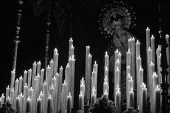 Virgin and candles Royalty Free Stock Photos