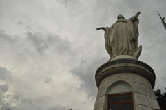 Virgin at Cerro San Cristobal in Santiago Stock Photos