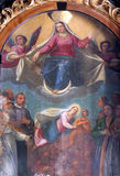 Virgin and Child. Enthroned Virgin and Child with saints and angels Royalty Free Stock Photo