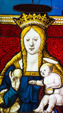 The Virgin and Child Stained Glass - 16th century Stock Photo
